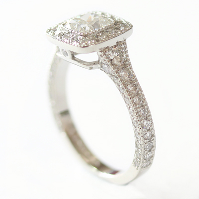Platinum Cushion Cut Diamond Halo Engagement Ring with Diamond Set Band 5.jpg