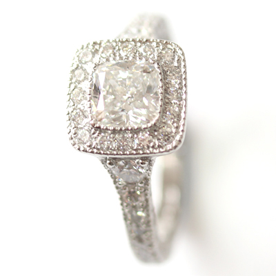 Platinum Cushion Cut Diamond Halo Engagement Ring with Diamond Set Band 6.jpg