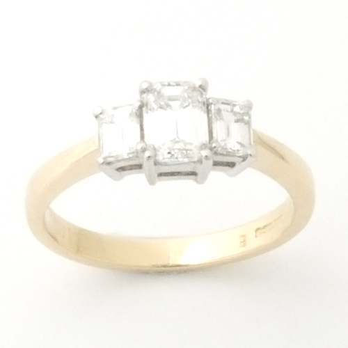 18ct White and Yellow Gold Emerald Cut Diamond Trilogy Engagement Ring.jpg