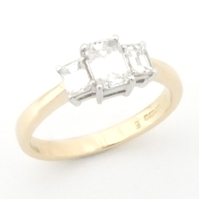 18ct White and Yellow Gold Emerald Cut Diamond Trilogy Engagement Ring 2.jpg