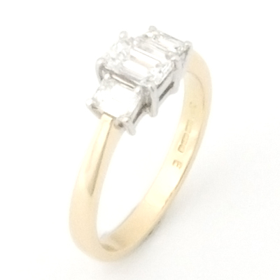 18ct White and Yellow Gold Emerald Cut Diamond Trilogy Engagement Ring 3.jpg