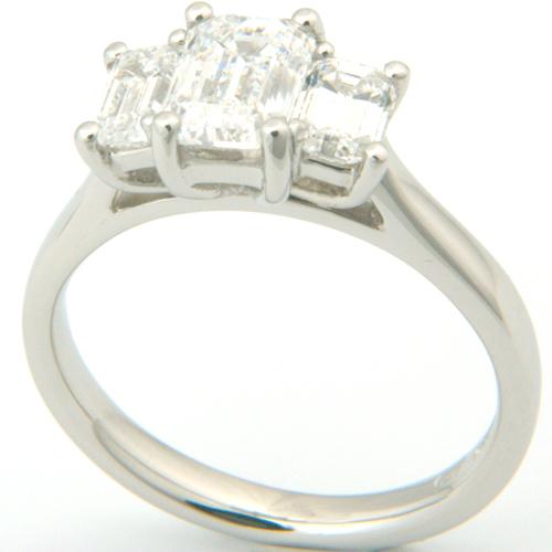 Platinum Trilogy Emerald Cut Diamond Engagement Ring.jpg