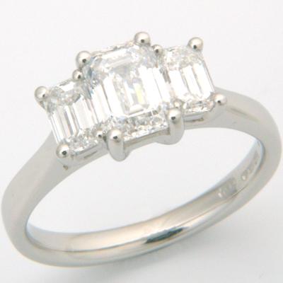 Platinum Trilogy Emerald Cut Diamond Engagement Ring 2.jpg
