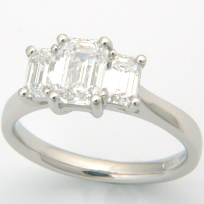 Platinum Trilogy Emerald Cut Diamond Engagement Ring 3.jpg