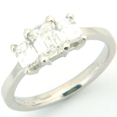 Palladium Trilogy Emerald Cut Diamond Engagement Ring 2.jpg