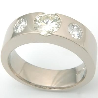 18ct White Gold Three Diamonds Engagement Ring 2.jpg