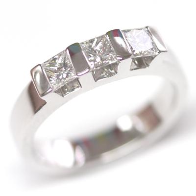 18ct White Gold Princess Cut Trilogy Engagement Ring 1.jpg