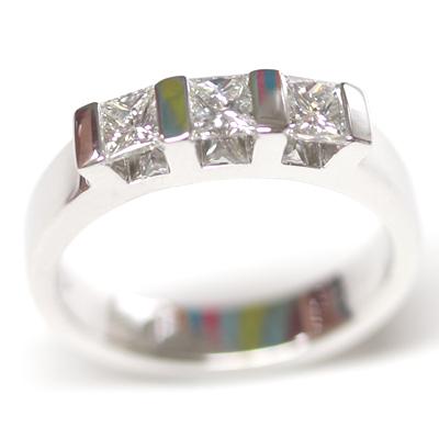 18ct White Gold Princess Cut Trilogy Engagement Ring 3.jpg
