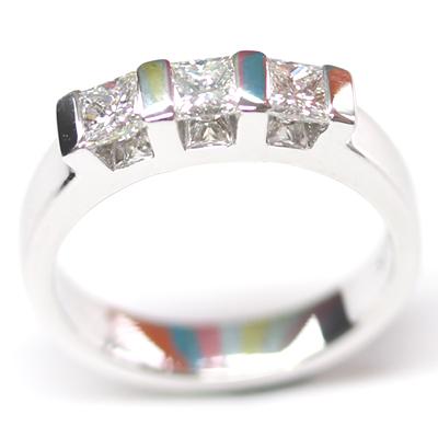 18ct White Gold Princess Cut Trilogy Engagement Ring 4 - Copy.jpg