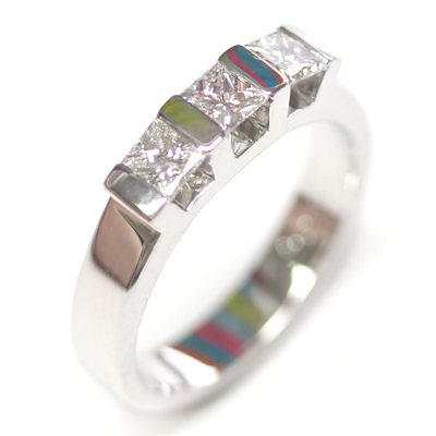 18ct White Gold Princess Cut Trilogy Engagement Ring 5.jpg