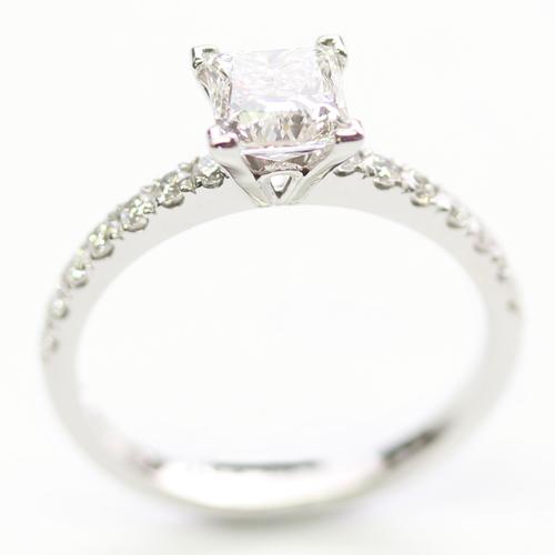 Platinum Princess Cut Diamond and Diamond Set Shoulder Engagement Ring.jpg