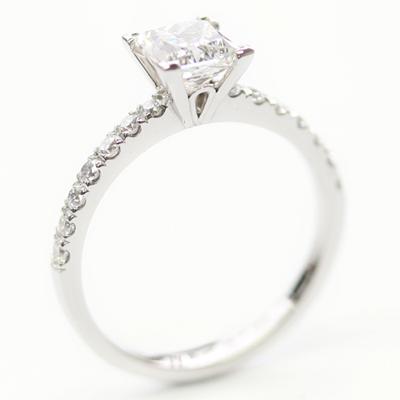 Platinum Princess Cut Diamond and Diamond Set Shoulder Engagement Ring 2.jpg