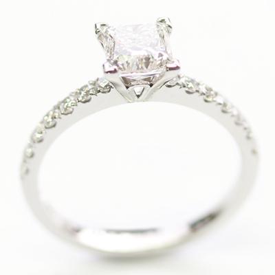Platinum Princess Cut Diamond and Diamond Set Shoulder Engagement Ring 1.jpg