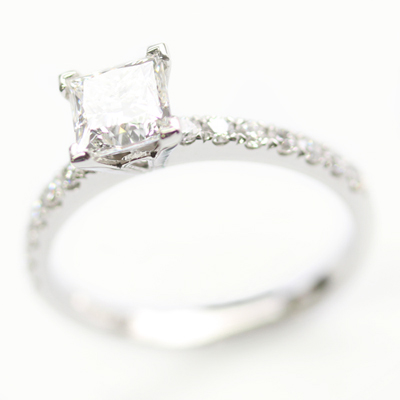 Platinum Princess Cut Diamond and Diamond Set Shoulder Engagement Ring 4.jpg