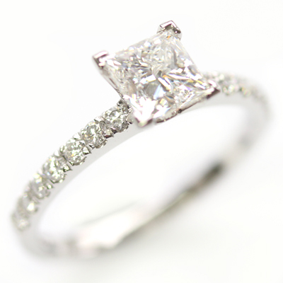 Platinum Princess Cut Diamond and Diamond Set Shoulder Engagement Ring 3.jpg