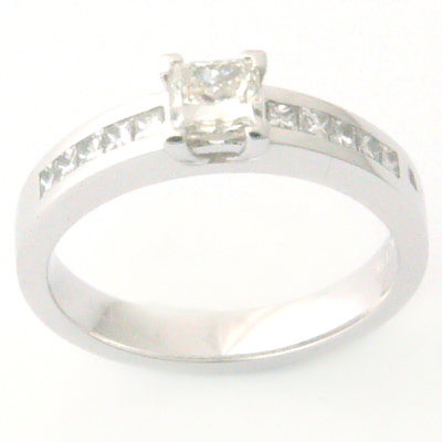 White Gold Princess Cut Claw and Channel Set Diamond Engagement Ring 1.jpg