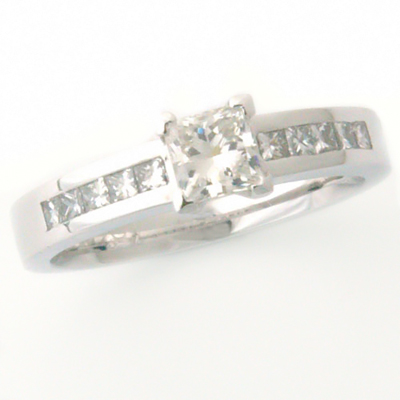White Gold Princess Cut Claw and Channel Set Diamond Engagement Ring 3.jpg