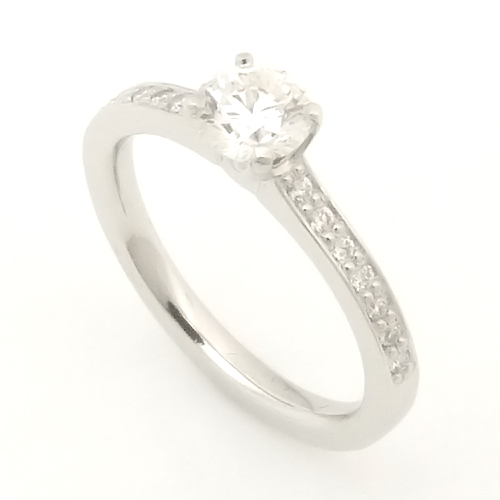 18ct White Gold Round Brilliant Cut Diamond Engagement Ring with Diamond Shoulders.jpg