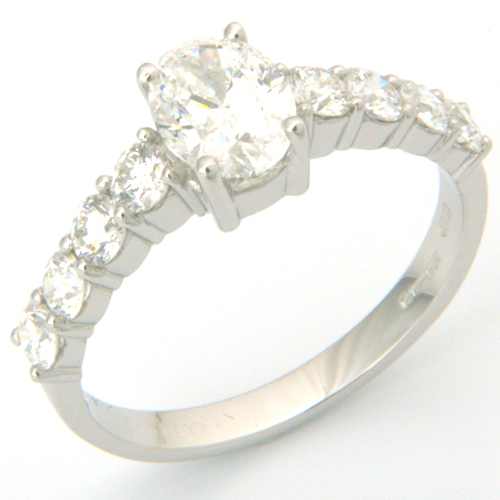 Platinum Oval Cut Diamond Centre Stone Engagement Ring.jpg