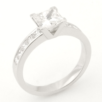 Platinum Princess Cut Diamond Engagement Ring with Diamond Shoulders 1.jpg