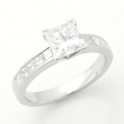 Platinum Princess Cut Diamond Engagement Ring with Diamond Shoulders 2.jpg