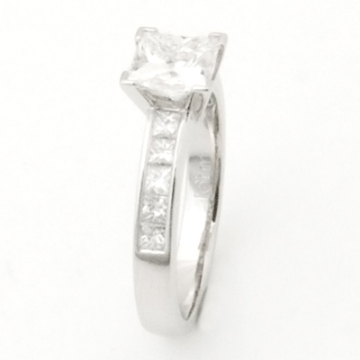 Platinum Princess Cut Diamond Engagement Ring with Diamond Shoulders 3.jpg