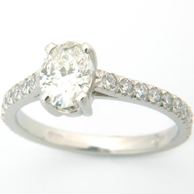 Platinum Oval Cut Diamond Engagement Ring with Diamond Set Band 1.jpg