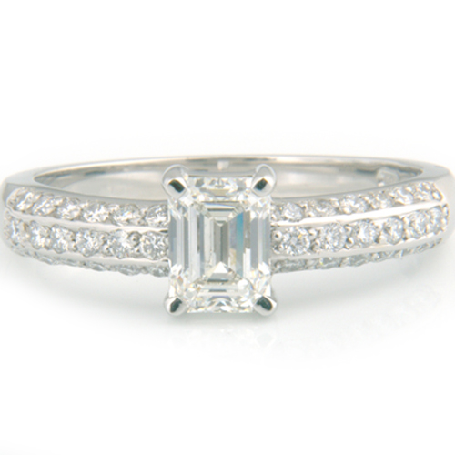 Platinum Emerald Cut Diamond Pave Engagement Ring.jpg