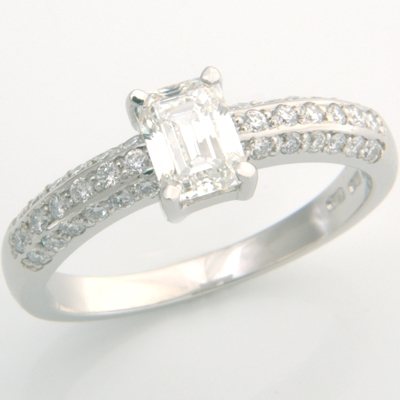 Platinum Emerald Cut Diamond Pave Engagement Ring 2.jpg