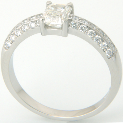 Platinum Emerald Cut Diamond Pave Engagement Ring 1.jpg