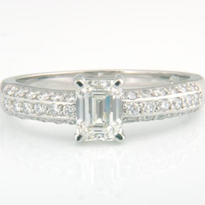 Platinum Emerald Cut Diamond Pave Engagement Ring 3.jpg