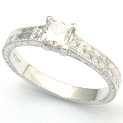 18ct White Gold Princess Cut Diamond Engraved Engagement Ring 2.jpg