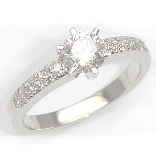 Platinum Solitaire Diamond with Pave Shoulders Engagement Ring.jpg