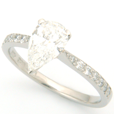 Palladium Pear Cut Diamond Engagement Ring with Diamond Set Shoulder 2.jpg