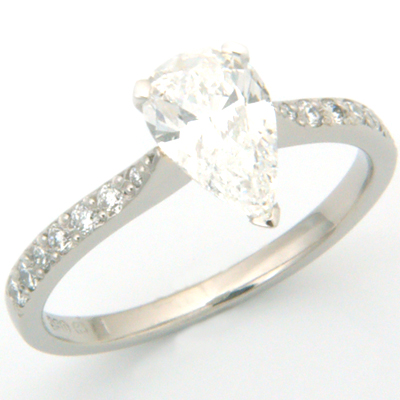 Palladium Pear Cut Diamond Engagement Ring with Diamond Set Shoulder 1.jpg
