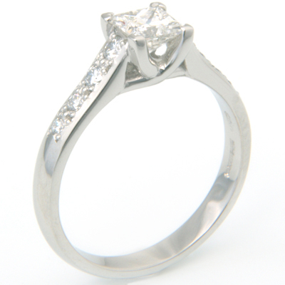 Platinum Tiffany Kiss Style Princess Cut Diamond Engagement Ring 2.jpg