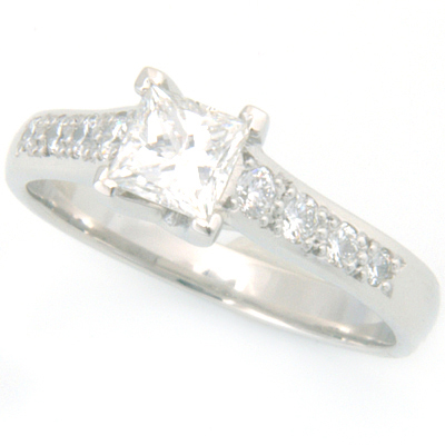 Platinum Tiffany Kiss Style Princess Cut Diamond Engagement Ring 3.jpg