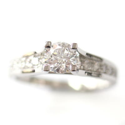 Platinum Engagement Ring using the Customer's Diamonds 4.jpg