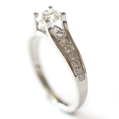 Platinum Engagement Ring using the Customer's Diamonds 6.jpg