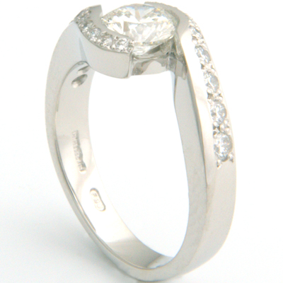 Platinum Cartier Inspired Diamond Engagement Ring 4.jpg