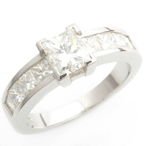 Claw and Channel Set Princess Cut Diamond Engagement Ring 2.jpg
