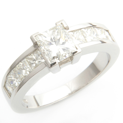 Claw and Channel Set Princess Cut Diamond Engagement Ring 1.jpg
