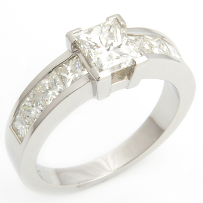 Claw and Channel Set Princess Cut Diamond Engagement Ring 4.jpg