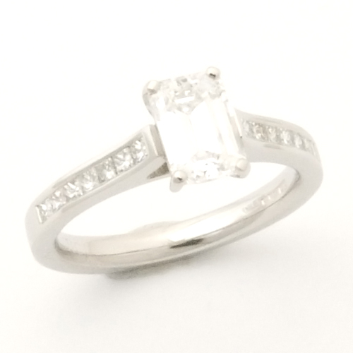 Platinum Emerald Cut Diamond Engagement Ring.jpg
