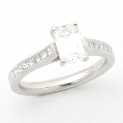 Platinum Emerald Cut Diamond Engagement Ring 2.jpg