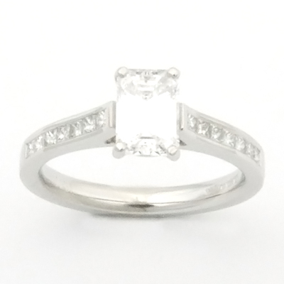 Platinum Emerald Cut Diamond Engagement Ring 3.jpg