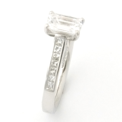 Platinum Emerald Cut Diamond Engagement Ring 4.jpg