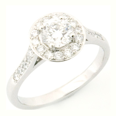Platinum Round Brilliant Cut Diamond Halo Engagement Ring 2.jpg