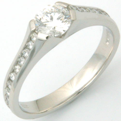 Platinum Diamond Engagement Ring with Channel Set Diamond Shoulders.jpg