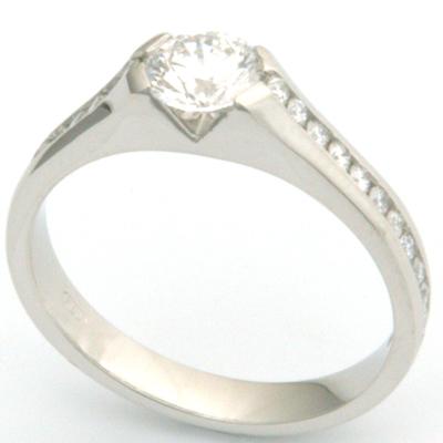 Platinum Diamond Engagement Ring with Channel Set Diamond Shoulders 1.jpg